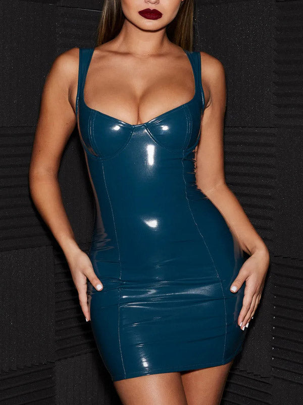 Sexy PU 3 Colors Bodycon Mini Dress