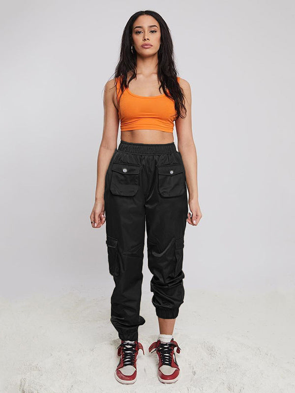 Solid Elastic Ankle Tied Cargo Pants