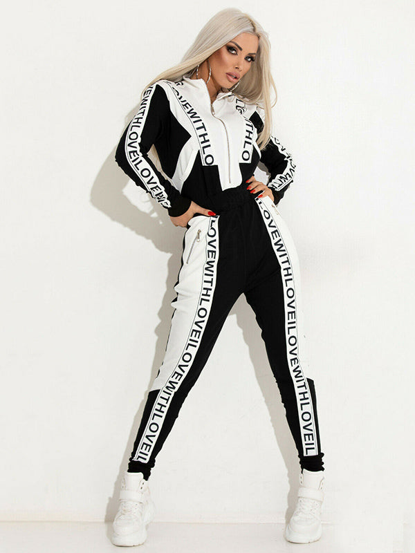 Zipper Long Sleeve Jacket And Pants Sport Suits