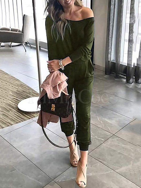 Solid One-shoulder Buttons Jumpsuits