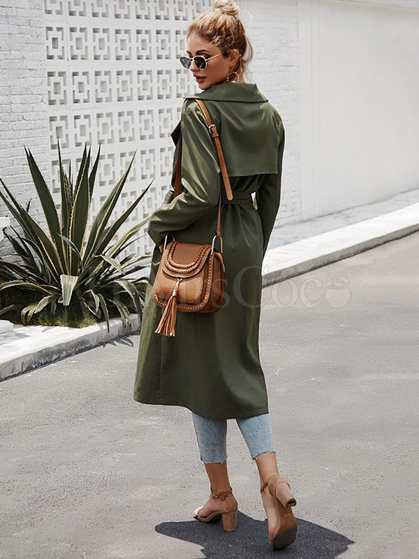Plain Belted Long Trench Coat