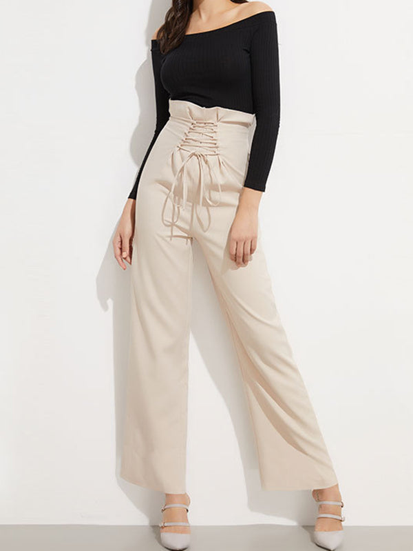 Fashion Solid Color Wide Leg Casual Pants