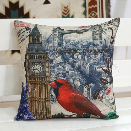 Sparrow Printed Square Pillow Case