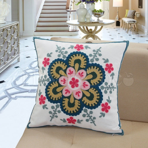 Embroidered Printed Cotton Square Pillow Case
