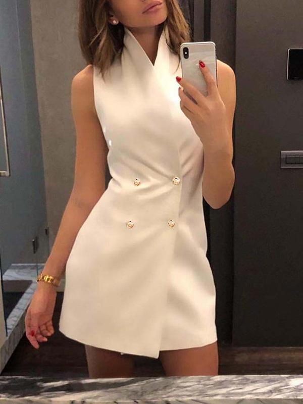 Stand Collar Double Breasted Mini Blazer Dress