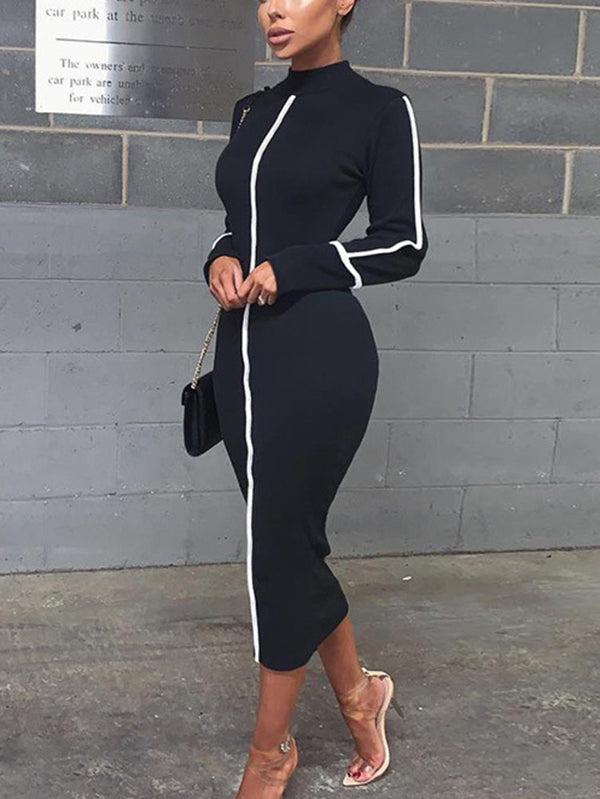 Wrap Long Sleeve Midi Dresses