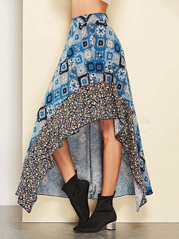 Split-joint Cropped Geometric Printed Skirt