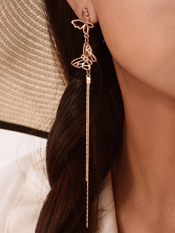 Hollow Butterfly Tassel Earrings