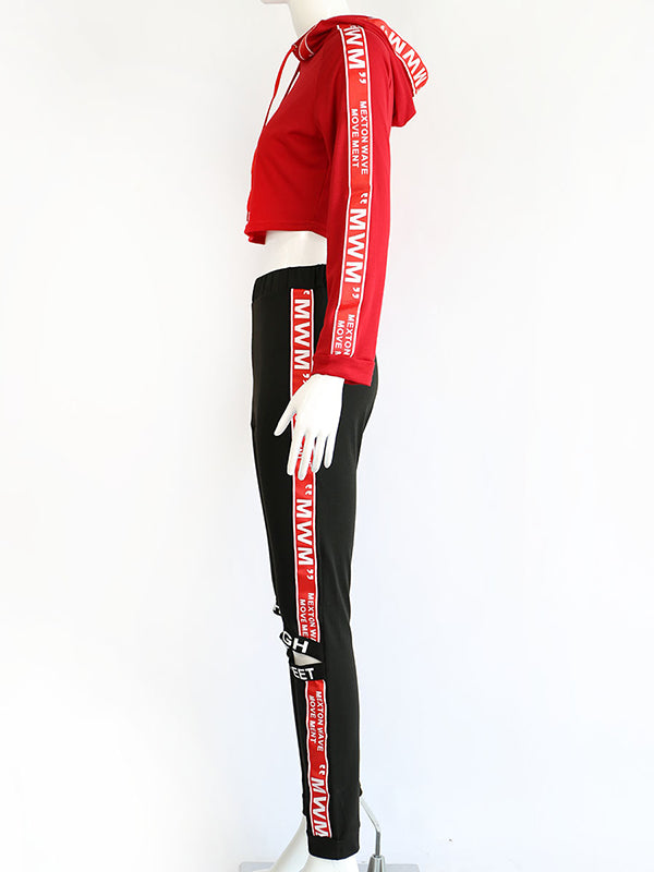 Letter Printed Crop Hoodies And Holes Sport Pants Suits