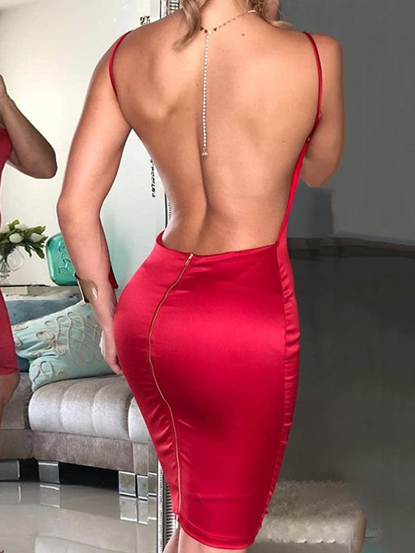 Simple Backless Red Sexy Mini Dress