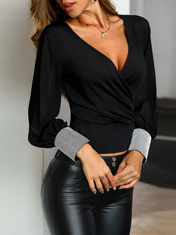 Fashion Black Long Sleeves Blouses&shirts Tops