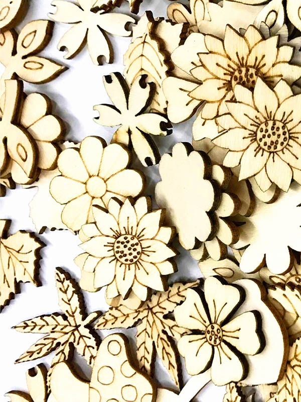 Burlywood Flower&Leaves Pattern Buttons