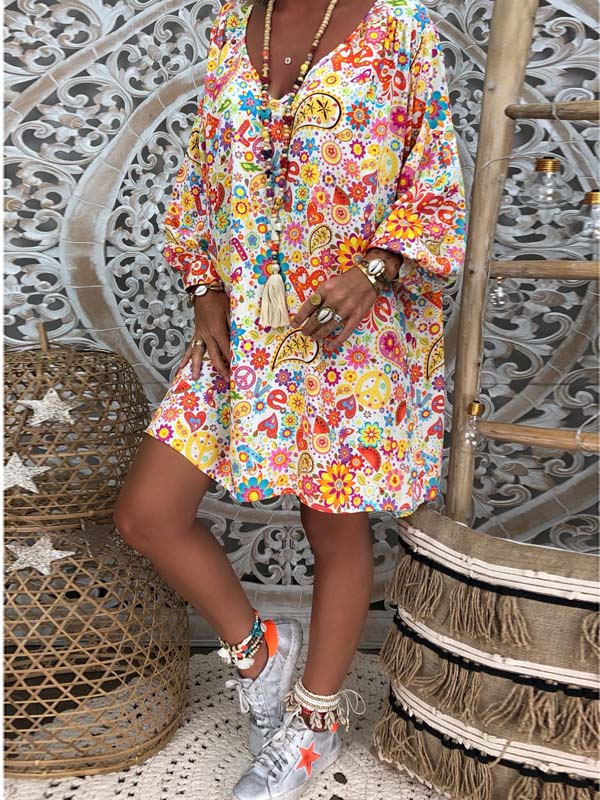 Casual V-neck Printed Puff Sleeve Mini Dress