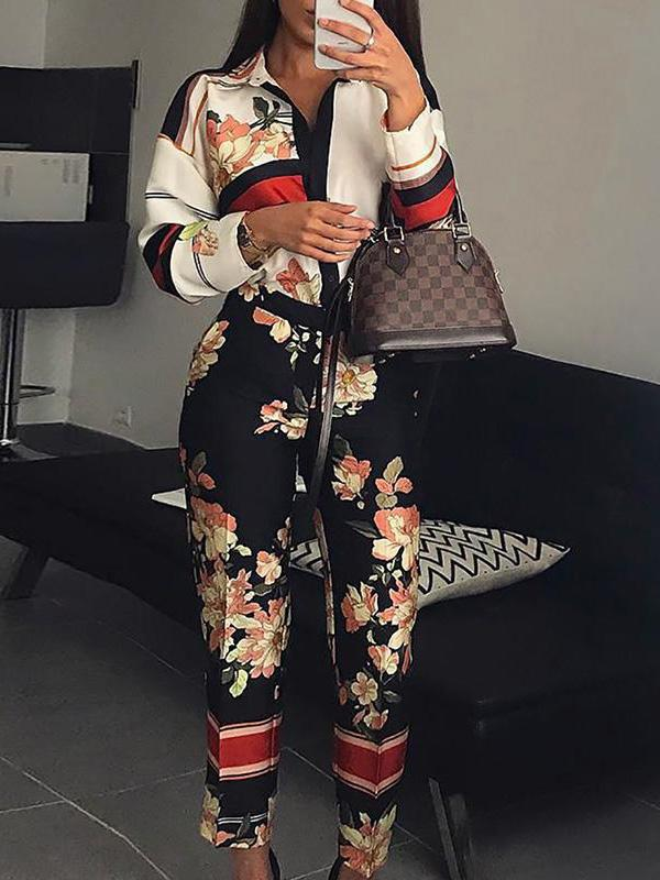 Pretty Floral Long Sleeves Jumpsuits