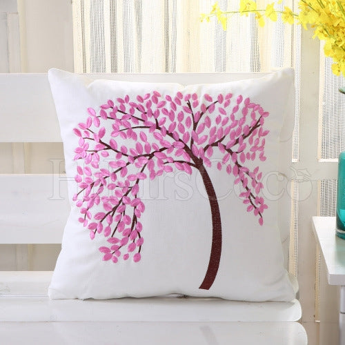 Trees Printed Cotton Pillow Case