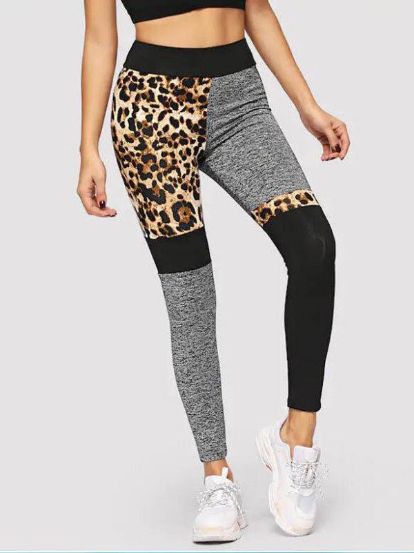 Patchwork Leopard Printed Yoga Leggings