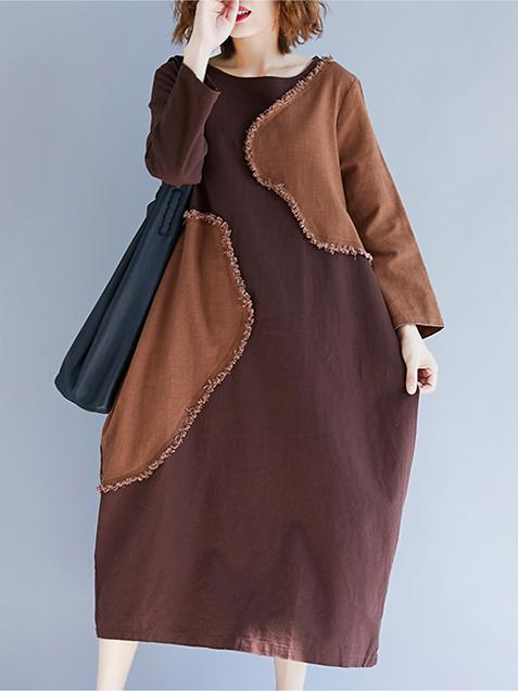 Comfortable Cotton Split-side Long Dress