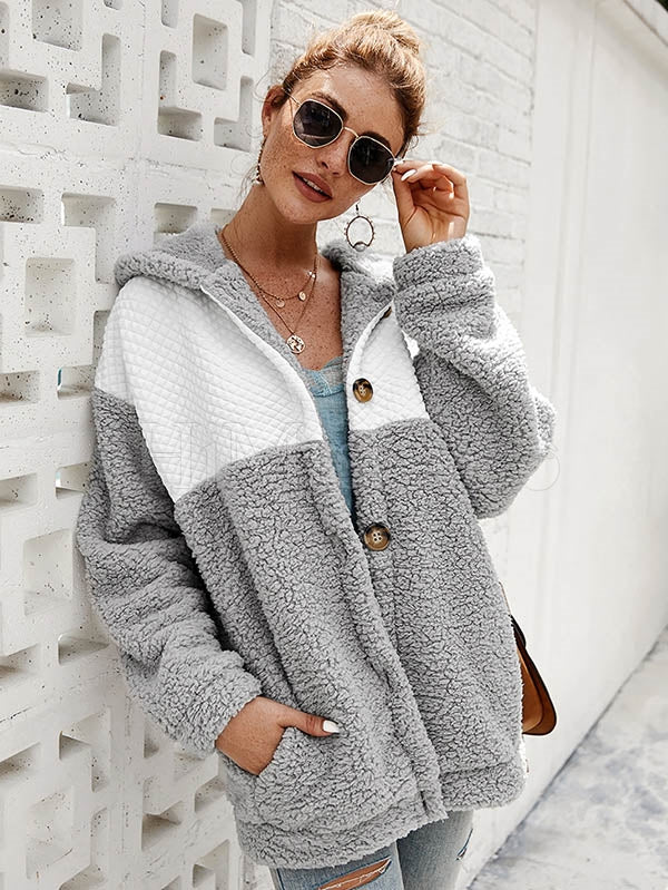 Stitching Color Plush Hooded Coat