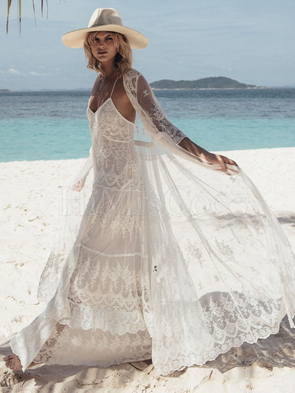 See-through Embroidered Sexy Beach Bikini Cover-Ups