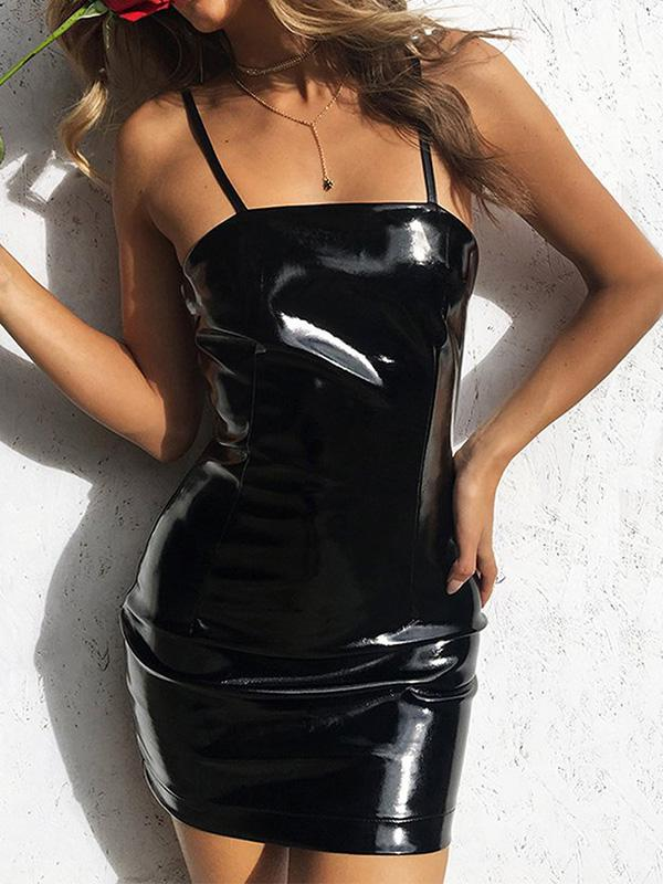 Black Spaghetti-neck Bodycon Sexy Mini Dress