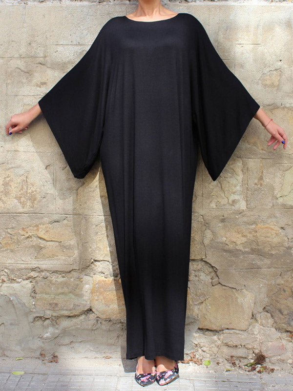 Black Simple Flared Sleeves Round-neck Long Dress