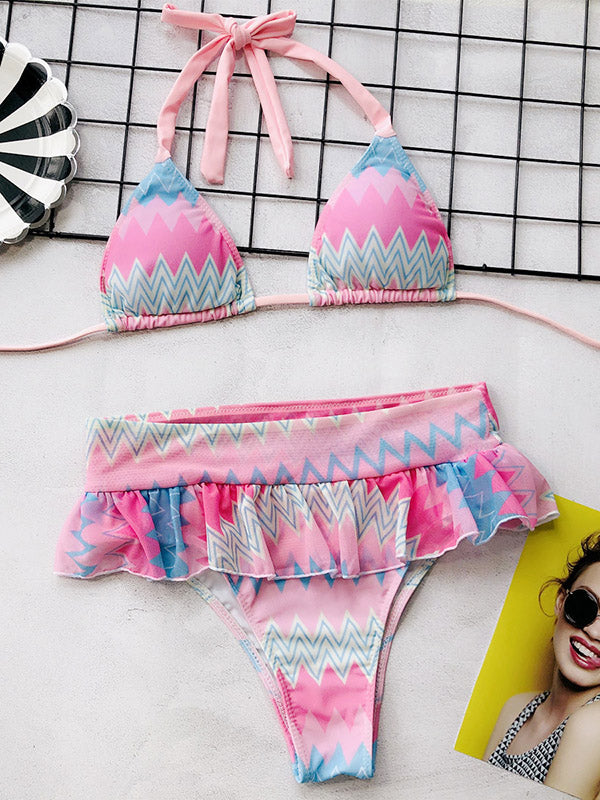 Colorful Striped Falbala Bikini Swimsuit