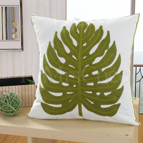 Leaf Printed Square Pillow Case