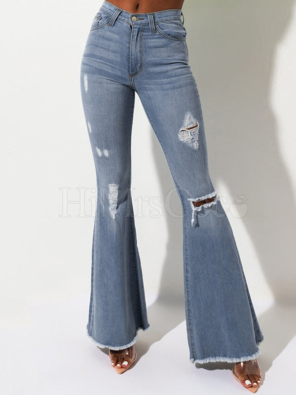 Casual Hole High Waist Women's Jeans