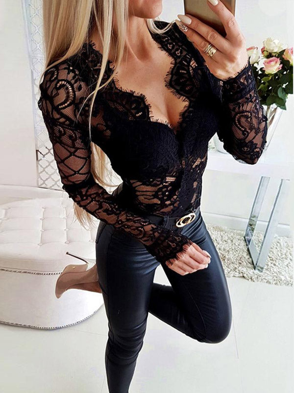 Sexy Lace Black Bodysuit