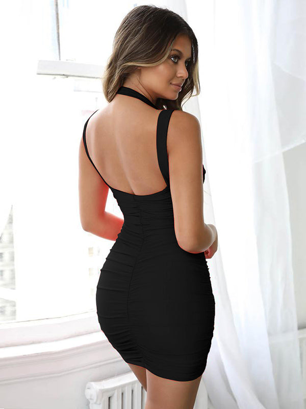 Sexy Solid Drape Mini Dress