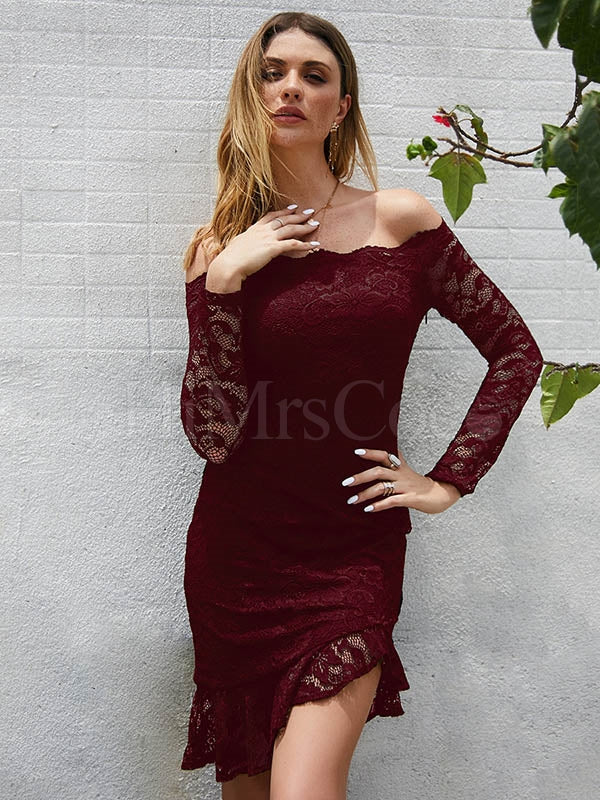 Sexy Lace Long Sleeve One-neck Dress