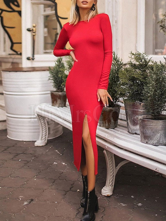 Sexy Ruond-Neck Long-Sleeves Backless Midi Dresses