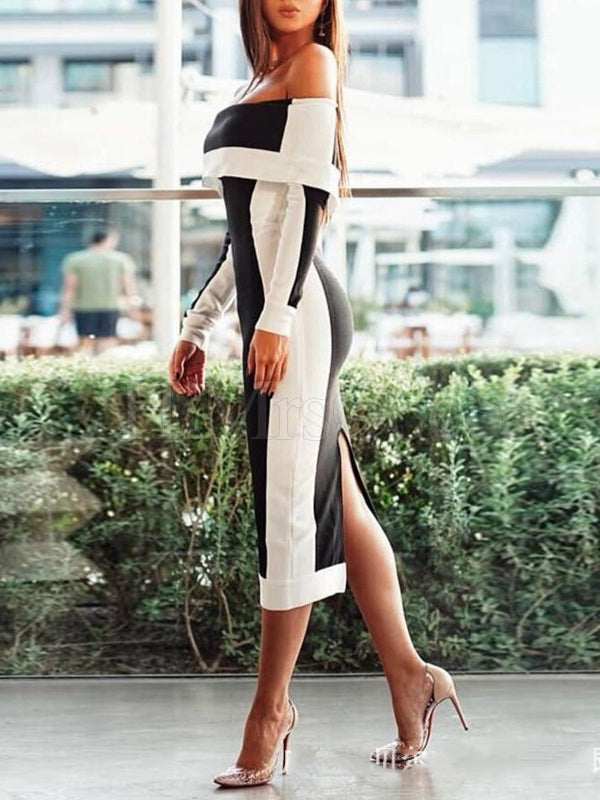 Off-the-shoulder Long Sleeve Midi Dress