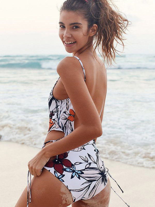 Plus Flower Print Backless One Piece Swimsuit