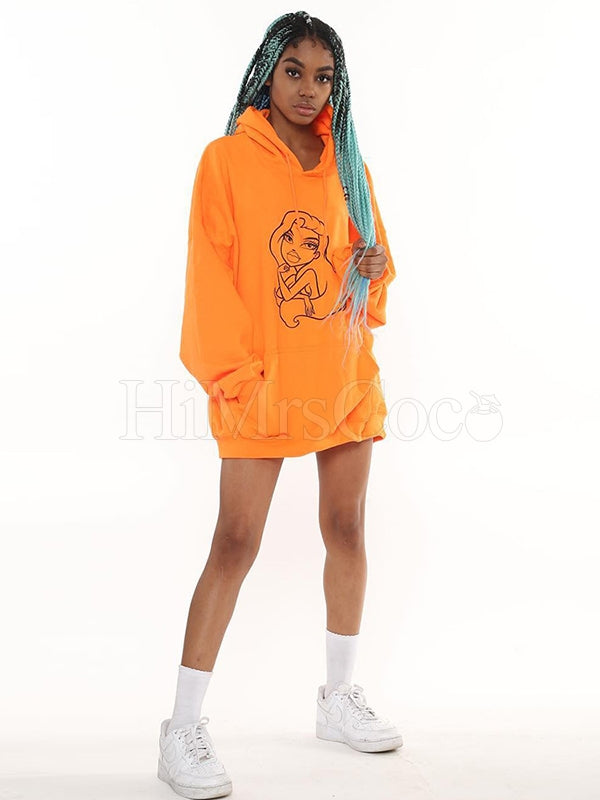 Loose Fluorescent Cartoon Figure Printed Hoodie