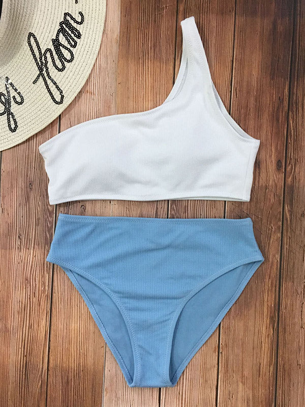 Single Shoulder High Waisted Bikini