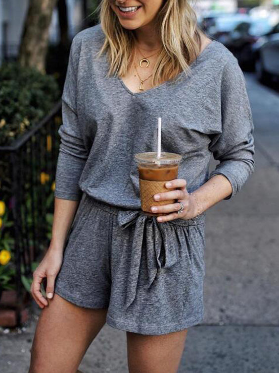 Casual V-neck Belted Rompers