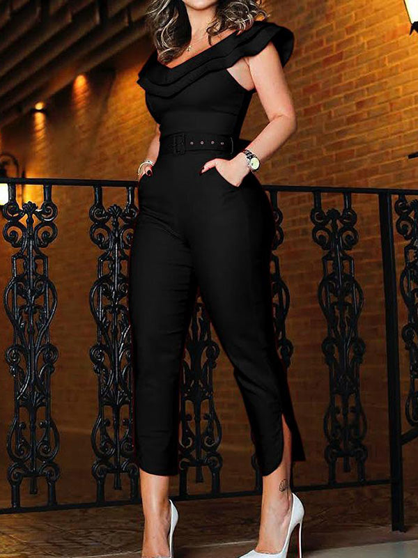 Solid Split-side Off-the-shoulder Pocket Jumpsuit