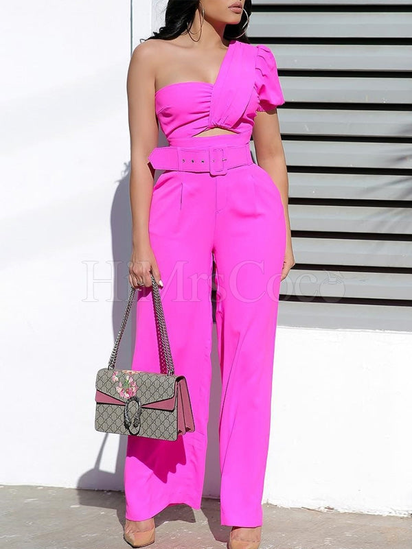 Off-the-shoulder One Sleeve Long Jumpsuit
