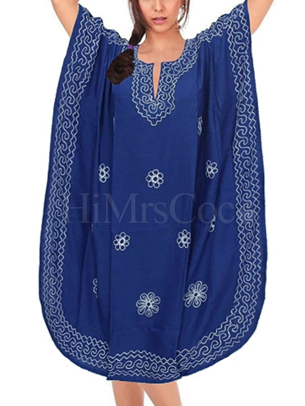Loose Embroidered U-shaped Dress Bikini Cover-Up
