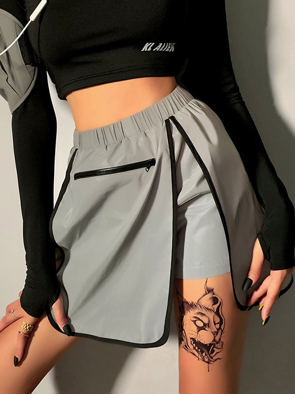 Fashion Zipper Refelcted High Waist Pantskirt