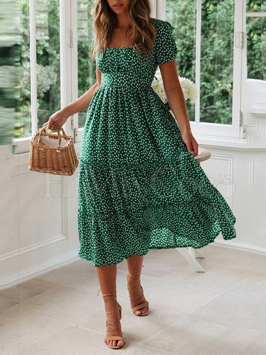 Floral Printed Split-joint Midi Dress