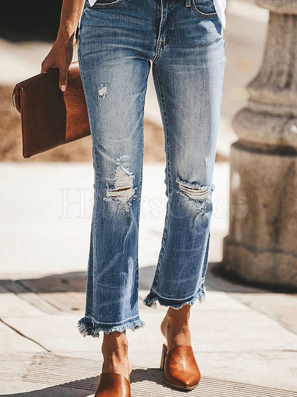 Split-Joint Straight Leg Holes Jean Pants