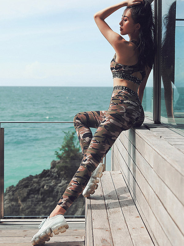 Camouflage Yoga Bra And Legging Suits