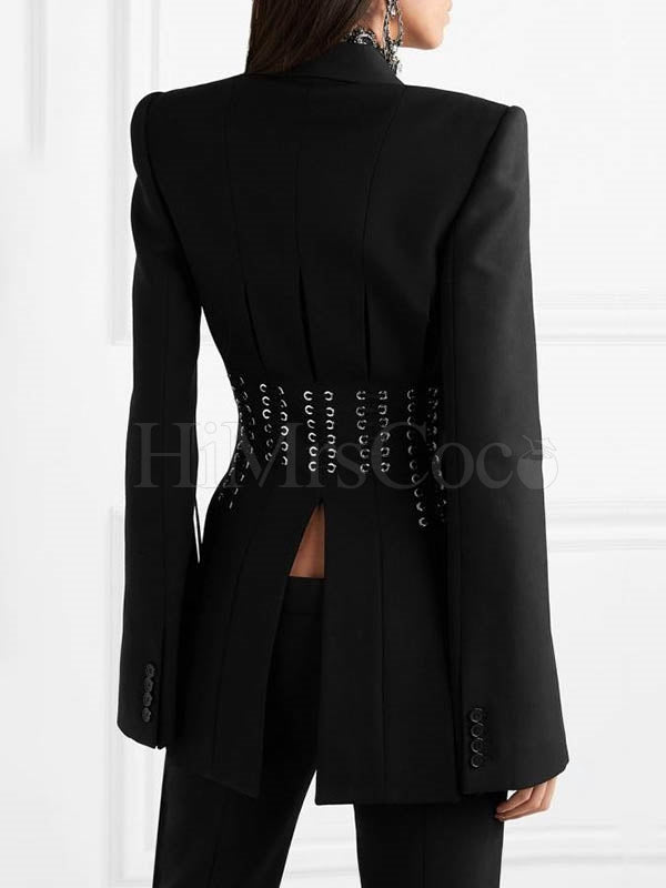 Black Bandage Cut Out Blazer Top