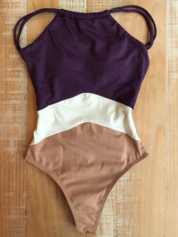 Color Block Spaghetti Straps One-piece Swimwear