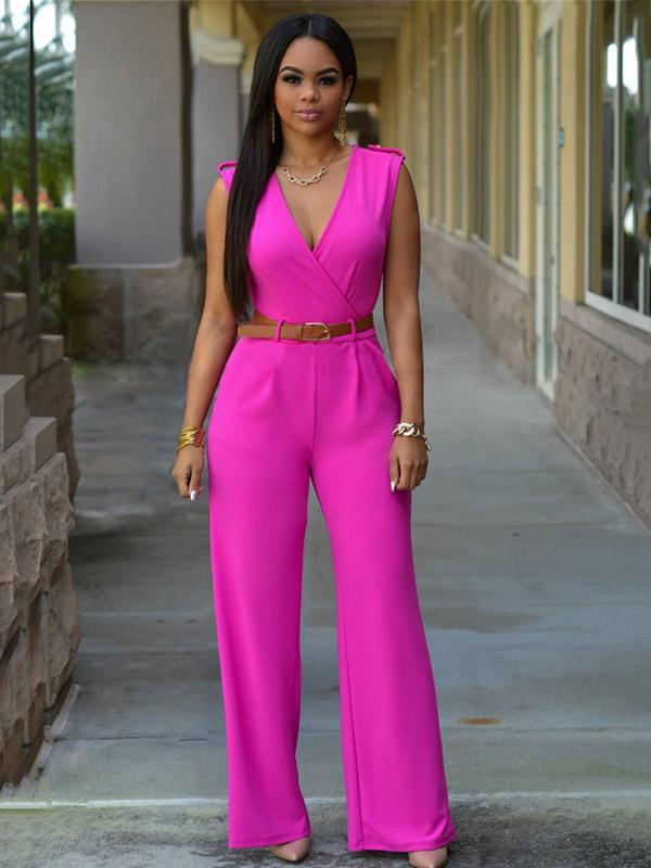 Fashion V Neck Solid Colors Long Jumpsuits