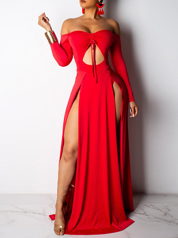 Fashion Hollow Solid Color Maxi Dress