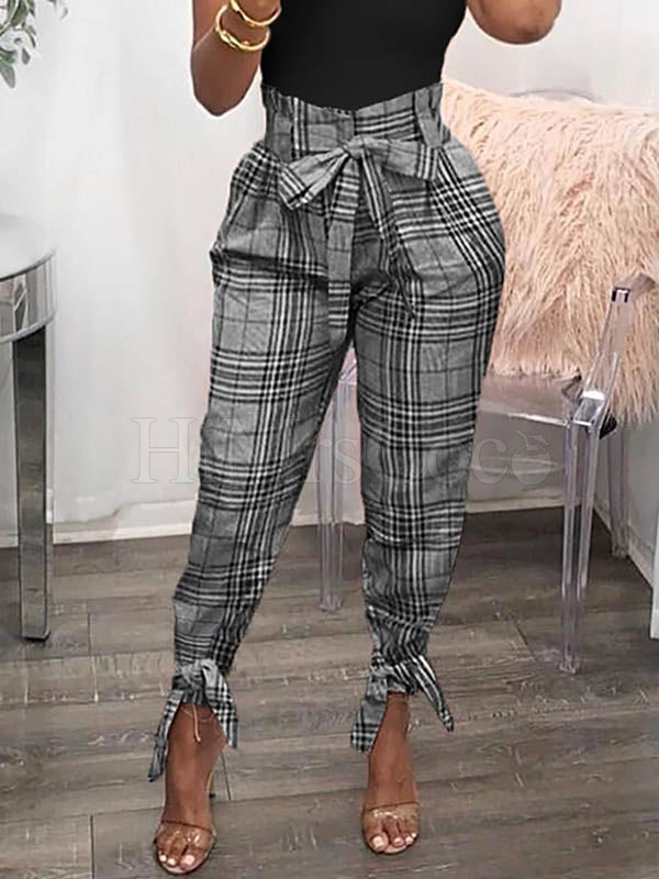 Fashion Plaid High Waist Belted Pants
