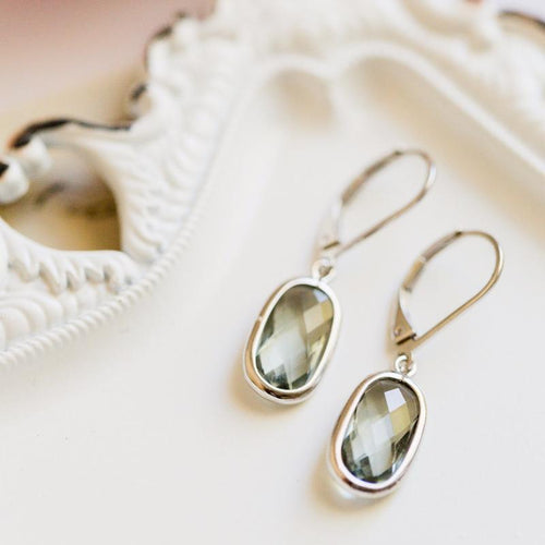 Rectangle Gemstone Leverback Earring